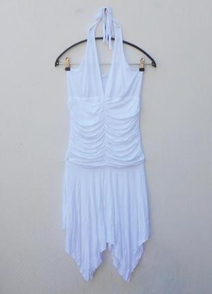 Белое летнее нарядное трикотажное платье из вискозы с открытой спиной