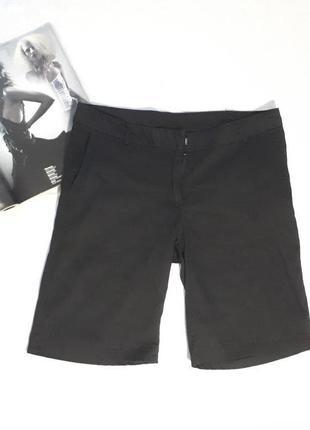Женские шорты черные котоновые капри бриджи l xl