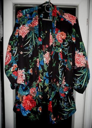 Кимоно накидка george болеро шифоновый кардиган в принт цветы птицы