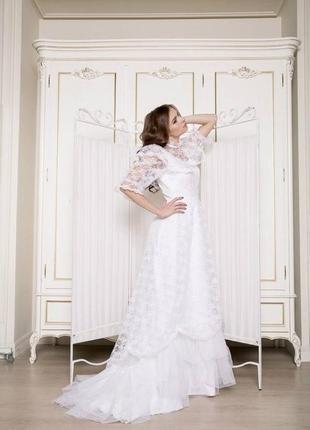 Свадебное кружевное платье со шлейфом, винтаж, ретро, для фотосессий
