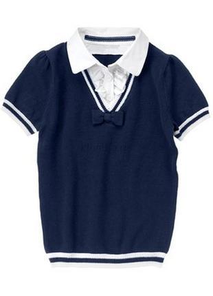 Школьная блузка -обманка crazy8. размер xl 10-12 лет. цвет синий.