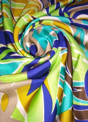Аутентичный яркий 💯 шелковый платок, шов роуль