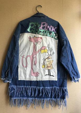 Удлинённая джинсовая куртка с принтом zara осенняя