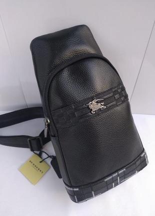 Мужская сумка - слинг кожаная черная