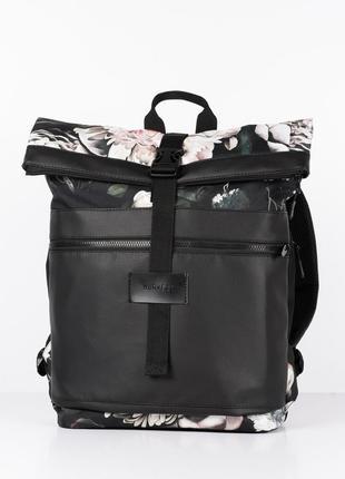 """Красивый женский городской рюкзак с цветами """"rolltop"""" флорал"""