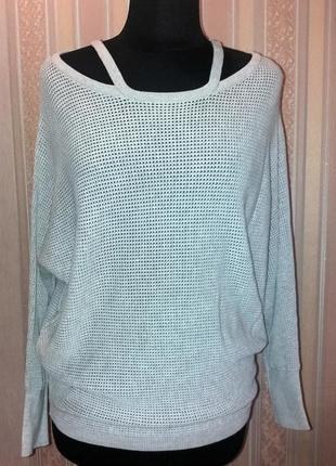 Модный стильный базовый светло серый джемпер, свитерок