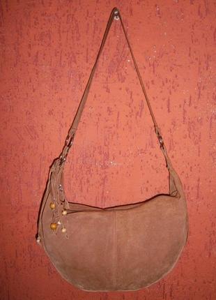 Очень милая сумка кожа замша  в стиле 90-х хиппи