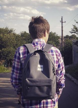 Рюкзак серый однотонный вместительный унисекс
