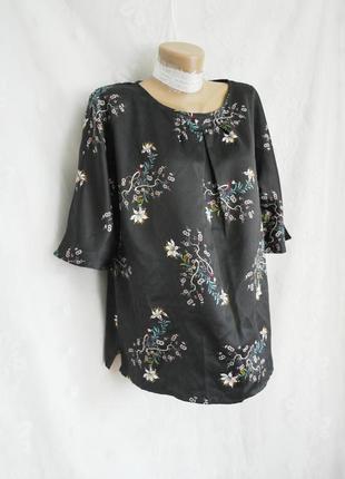 Блузkа черная атласная в японском стиле, м - l.