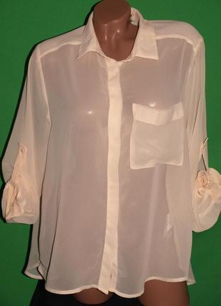 Нежная  блуза (ххл замеры) шифон, лёгкая , 2 длины отлично смотрится