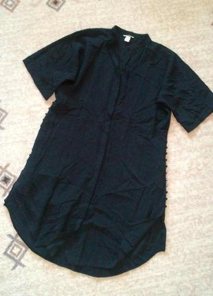 36-42р. свободный лёгкий халат-платье-жатка с пуговицами по бокам