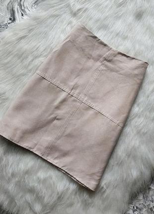 Пудровая юбка трапеция под замш/ замшевая мини