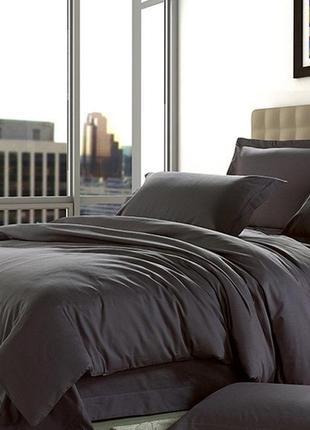 Dark grey, однотонное постельное белье из сатина (100% хлопок)