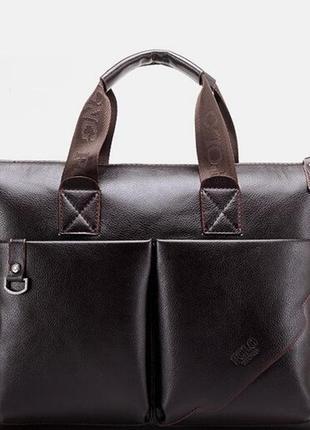 Кожаный портфель polo коричневый