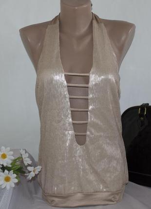 Брендовая золотая блуза топ marani паетки этикетка