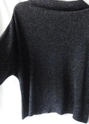 Свитер - кофта свободного кроя с люрексовой нитью