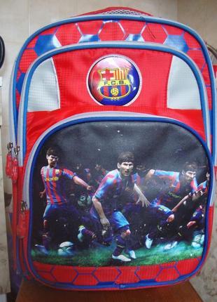 Рюкзак  красно-синий на колесиках с выдвижной ручкой naerdvo