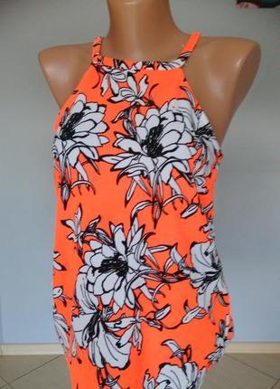 Майка футболка блуза s xs оранжевая цветы