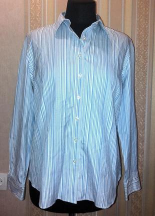 Рубашка хлопок, вертикальная голубая полоска, xl-xxl