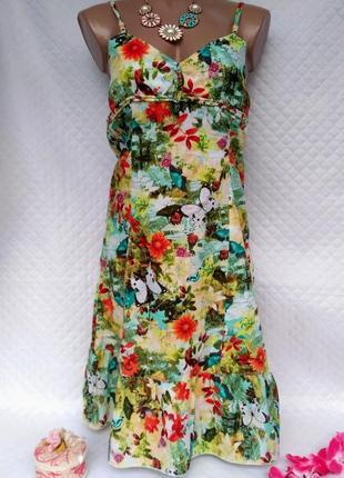 Яркий легкий летний сарафанчик в цветы и бабочки размер 10 (40-42)