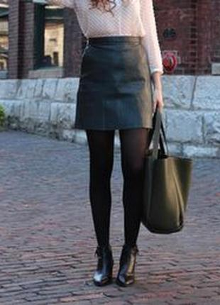 Кожаная юбка темно-изумрудного цвета с замками от atmosphere, размер s - m
