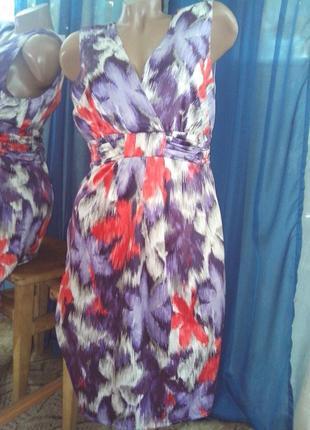 Яркое разноцветное платье-миди от debenhams petite collection