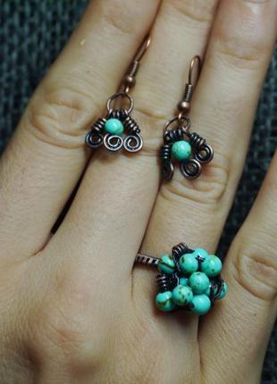 Комплект украшений ручной работы, серьги и кольцо