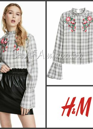 Шикарная блуза блузка хлопок с вышивкой от h&m