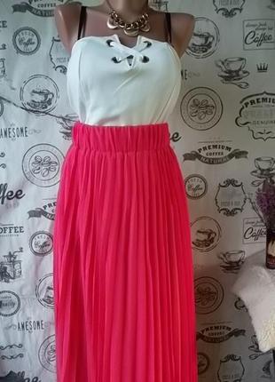 Классная юбка в пол плиссировка, коралл,  размер 44-46, новая