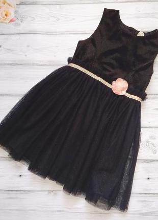 Нарядное чёрное платьице young dimension для девочки 7-8 лет