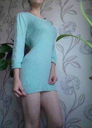 Кашемировое  платье-туника 38-40р  одета на 38