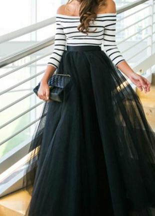 Тренд!!! длинная чёрная юбка из фатина