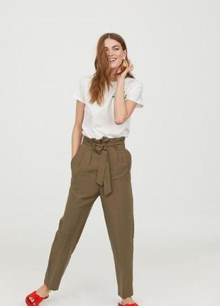 Стильные брюки с высокой посадкой и завязкой от h&m