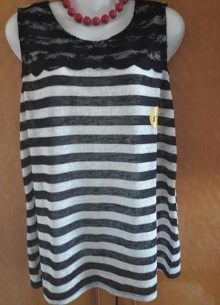 Суперовая майка-блуза в полоску с гипюровой вставкой (сзади запах) george