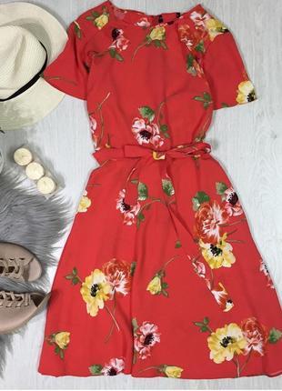 Платье-миди в цветочный принт