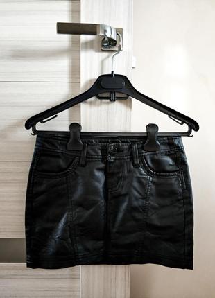 Кожаная мини юбка! осень- 2018