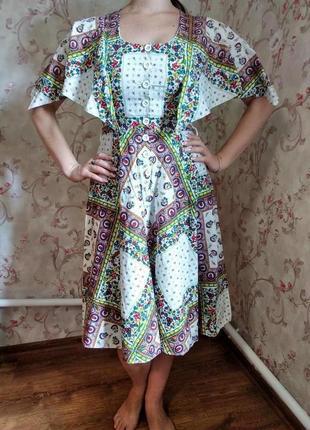 Оригинальное натуральное платье- халат в этностиле