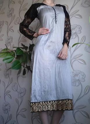 Стилизованное платье миди с вырезами, 36р одет  на 38р