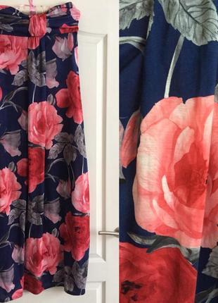 Платье в пол принт в цветы макси длинное сарафан без бретелей голубое розовое разноцветное