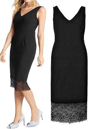 Черное платье-футляр с кружевом {бренд marks & spencer}