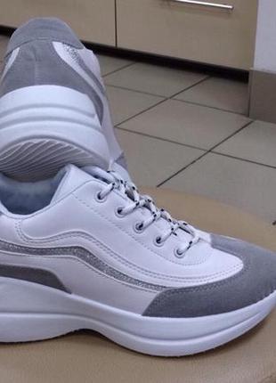 Кроссовки в стиле balenciaga белые с серым р36-41