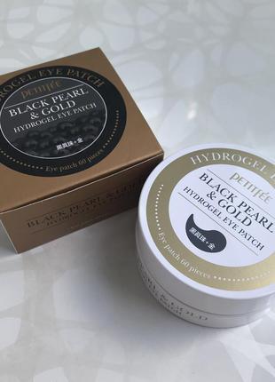 Гидрогелевые корейские патчи для глаз petitfee black pearl & gold