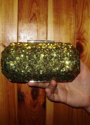 Распродажа!красивый клатч в пайетках оливкового цвета от beth j