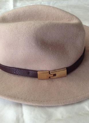 Шляпа шерстяная федора. 56 см. пастельно-розовый. шерсть 100%