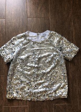 Серебряная футболка блуза в паетки
