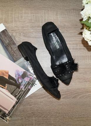 Kennel&schmenger! кожа/нубук! красивые туфли-лодочки, балетки на низком ходу с перьями