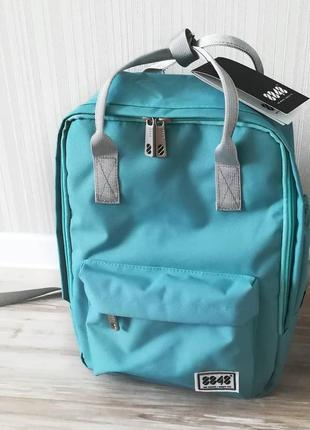 Рюкзак бирюзовый однотонный с ручками трансформер сумка