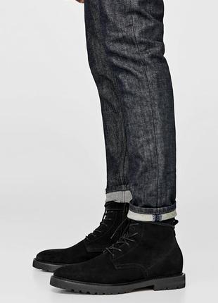 Черные замшевые ботинки zara. размер 44