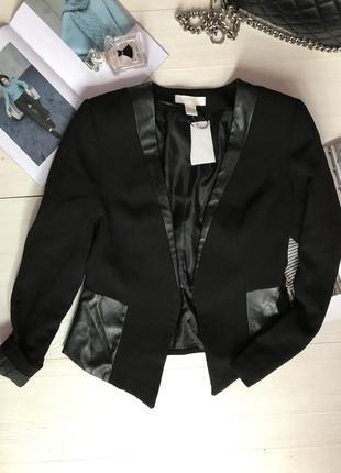 Пиджак со вставками из эко кожи1