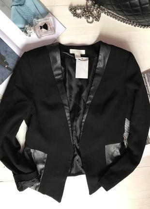 Пиджак со вставками из эко кожи3